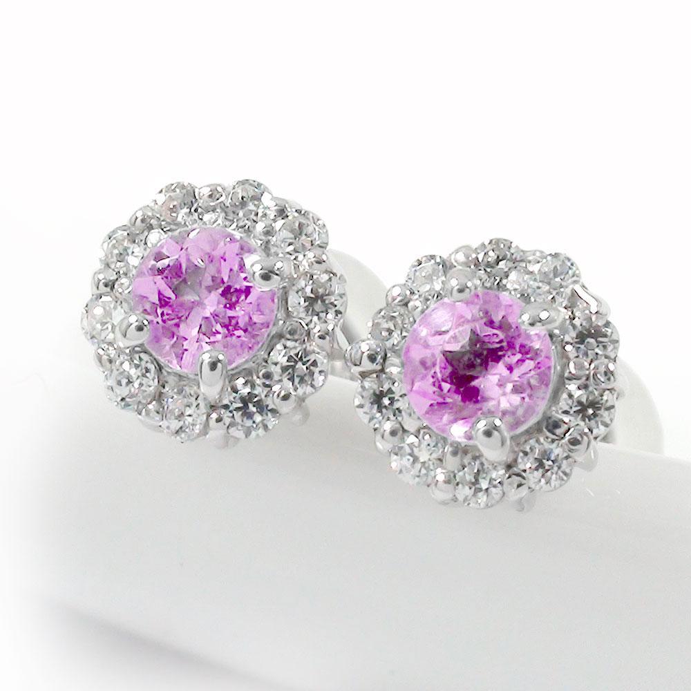 ピンクサファイア 取り巻き フラワーモチーフ ピアス ダイヤモンド 花 プラチナ 誕生石