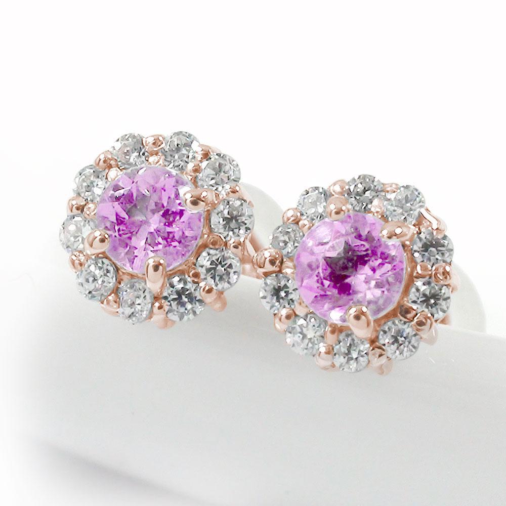 取り巻き フラワーモチーフ ピアス 花 18金 ピンクサファイア 誕生石 ダイヤモンド