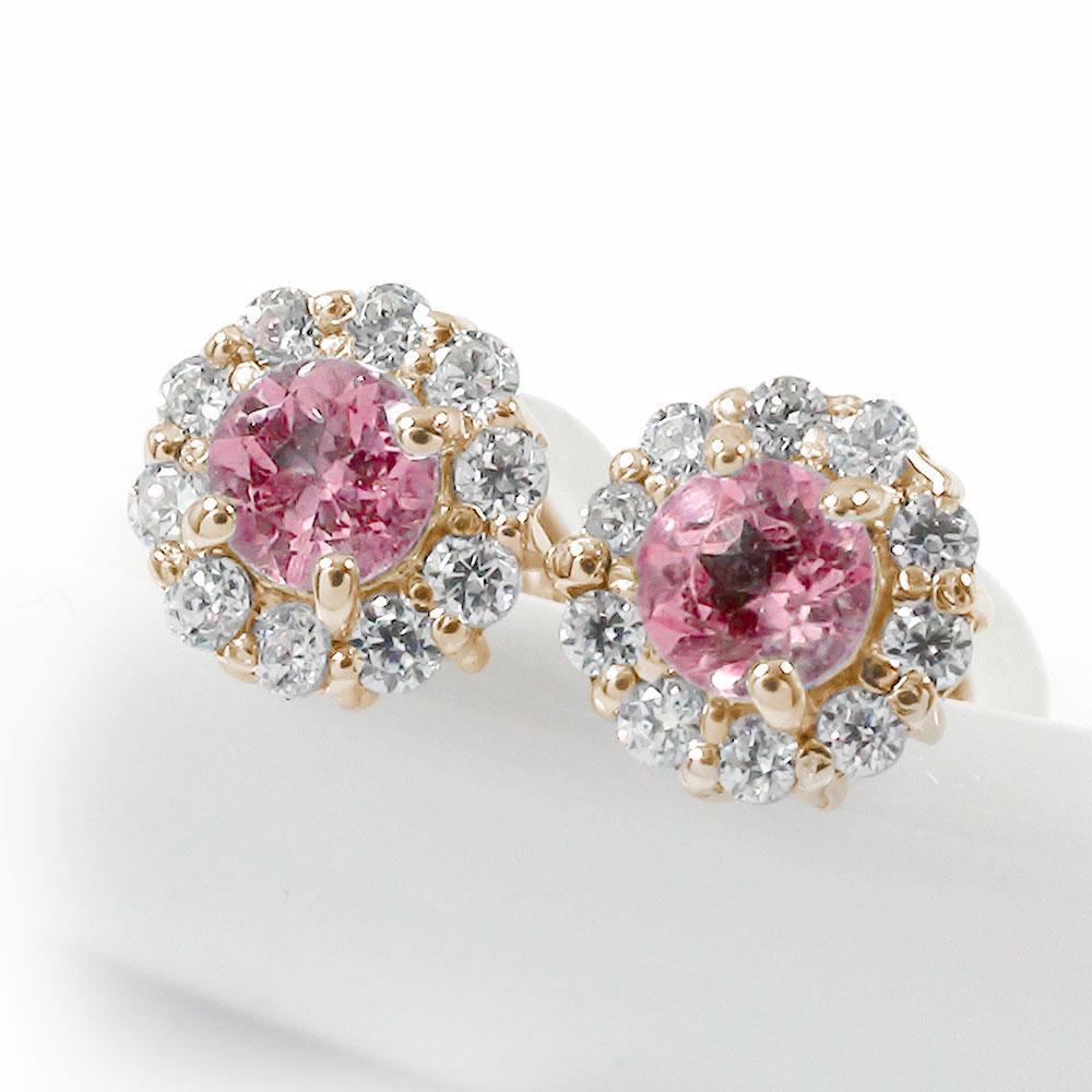 10金 ピンクトルマリン ダイヤモンド 誕生石 取り巻き フラワーモチーフ ピアス 花