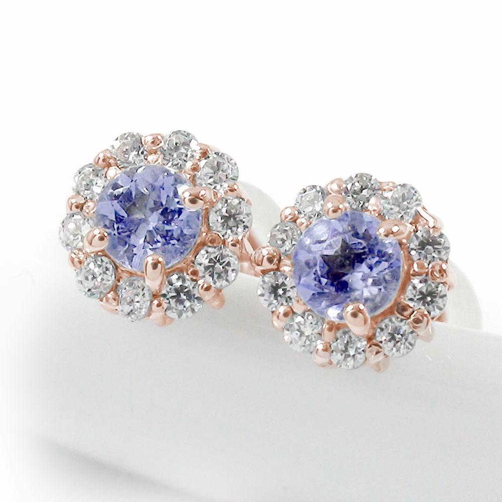 取り巻き フラワーモチーフ ピアス 花 18金 タンザナイト 誕生石 ダイヤモンド