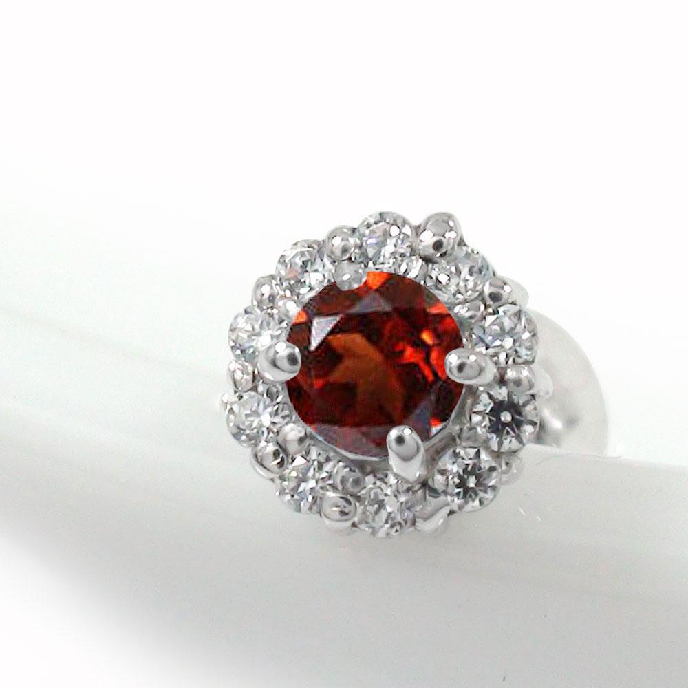 ガーネット 取り巻き フラワーモチーフ 片耳ピアス ダイヤモンド 花 プラチナ 誕生石