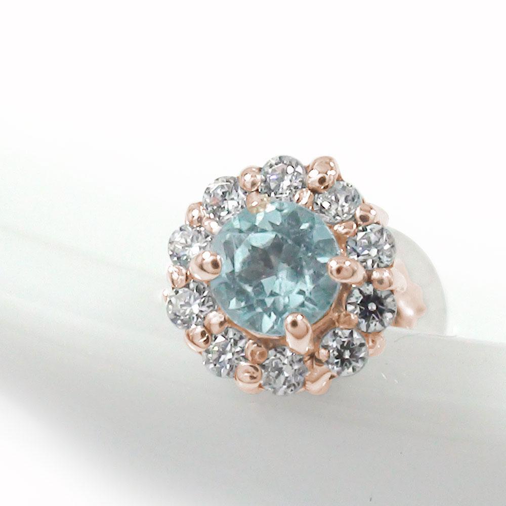 取り巻き フラワーモチーフ 片耳ピアス 花 18金 アクアマリン ダイヤモンド 誕生石