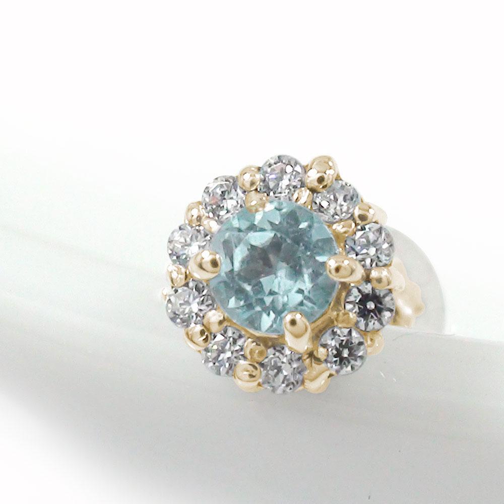 10金 アクアマリン ダイヤモンド 誕生石 取り巻き フラワーモチーフ 片耳ピアス 花