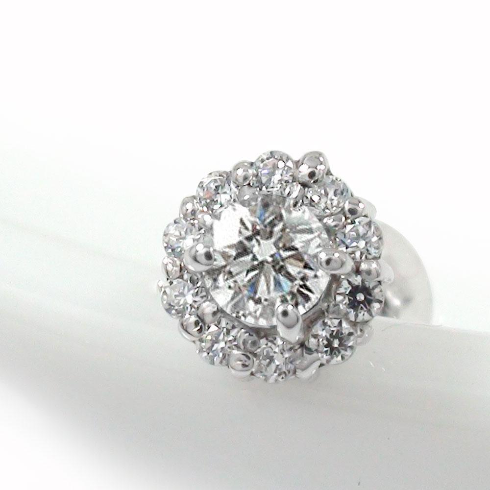 ダイヤモンド 取り巻き フラワーモチーフ 片耳ピアス 花 プラチナ 誕生石