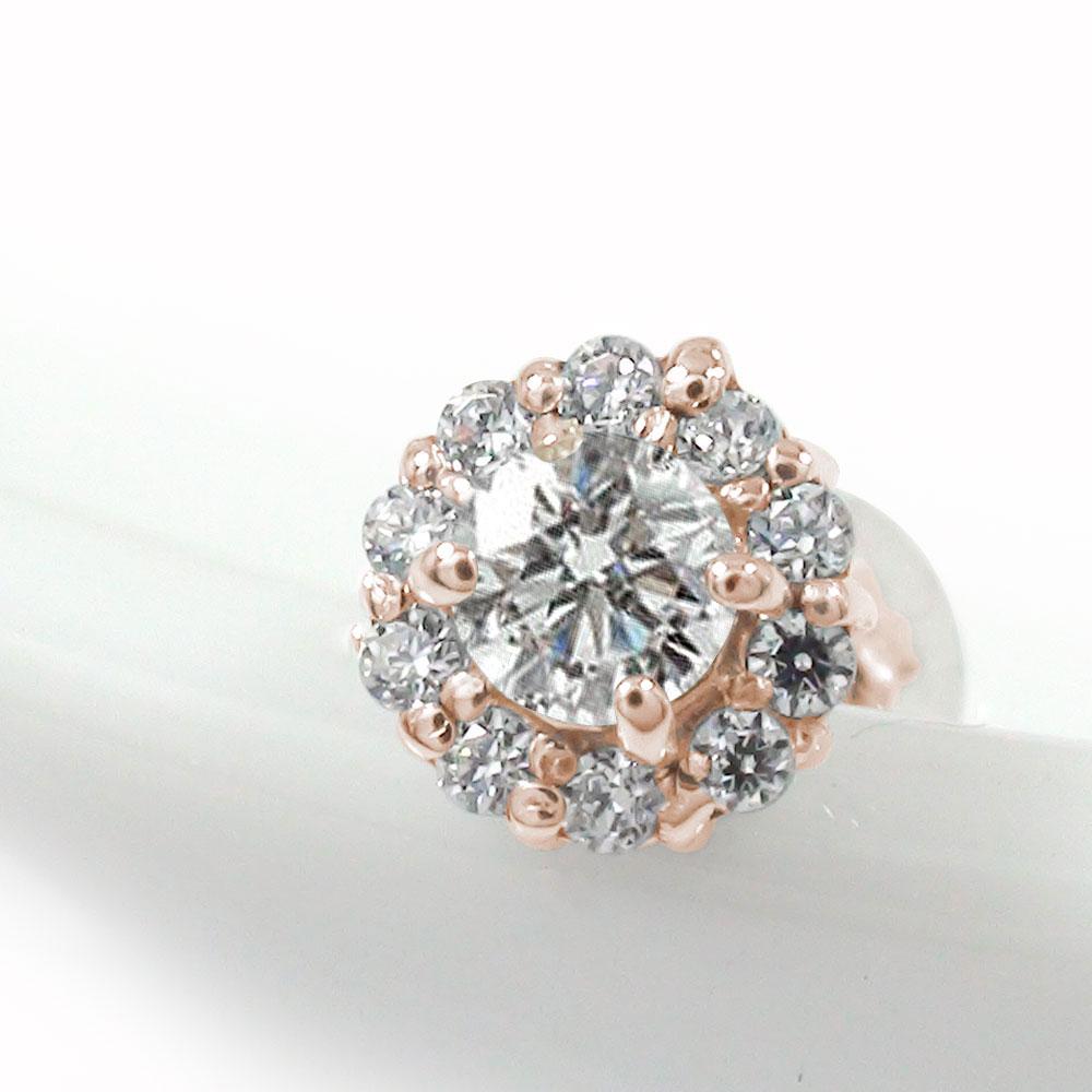 取り巻き フラワーモチーフ 片耳ピアス 花 18金 ダイヤモンド 誕生石