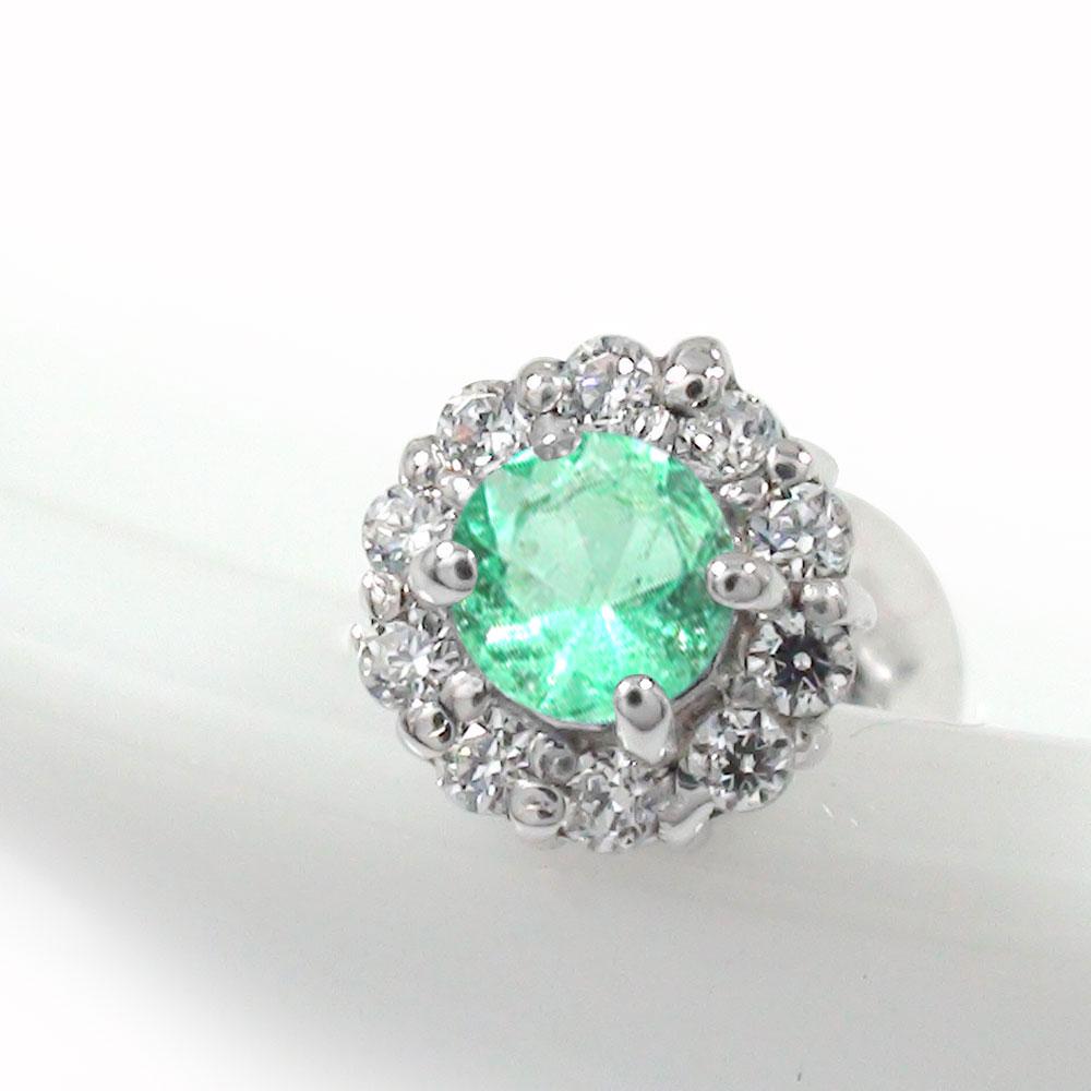 エメラルド 取り巻き フラワーモチーフ 片耳ピアス ダイヤモンド 花 プラチナ 誕生石