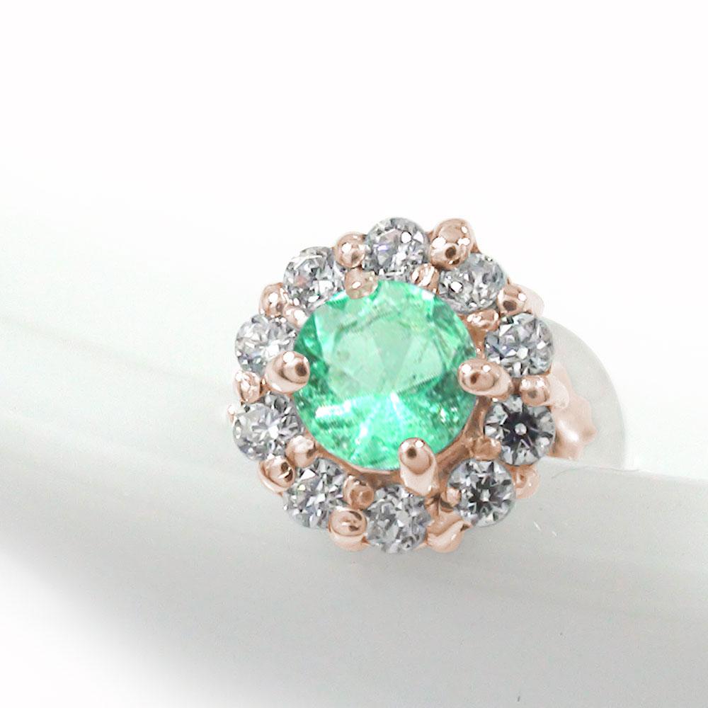 取り巻き フラワーモチーフ 片耳ピアス 花 18金 エメラルド ダイヤモンド 誕生石