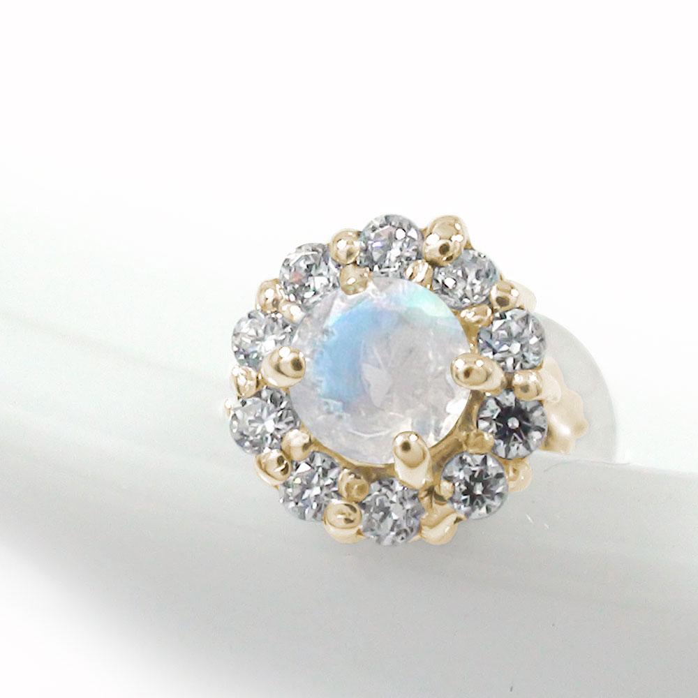 誕生石 取り巻き フラワーモチーフ 片耳ピアス 花 10金 ブルームーンストーン ダイヤモンド