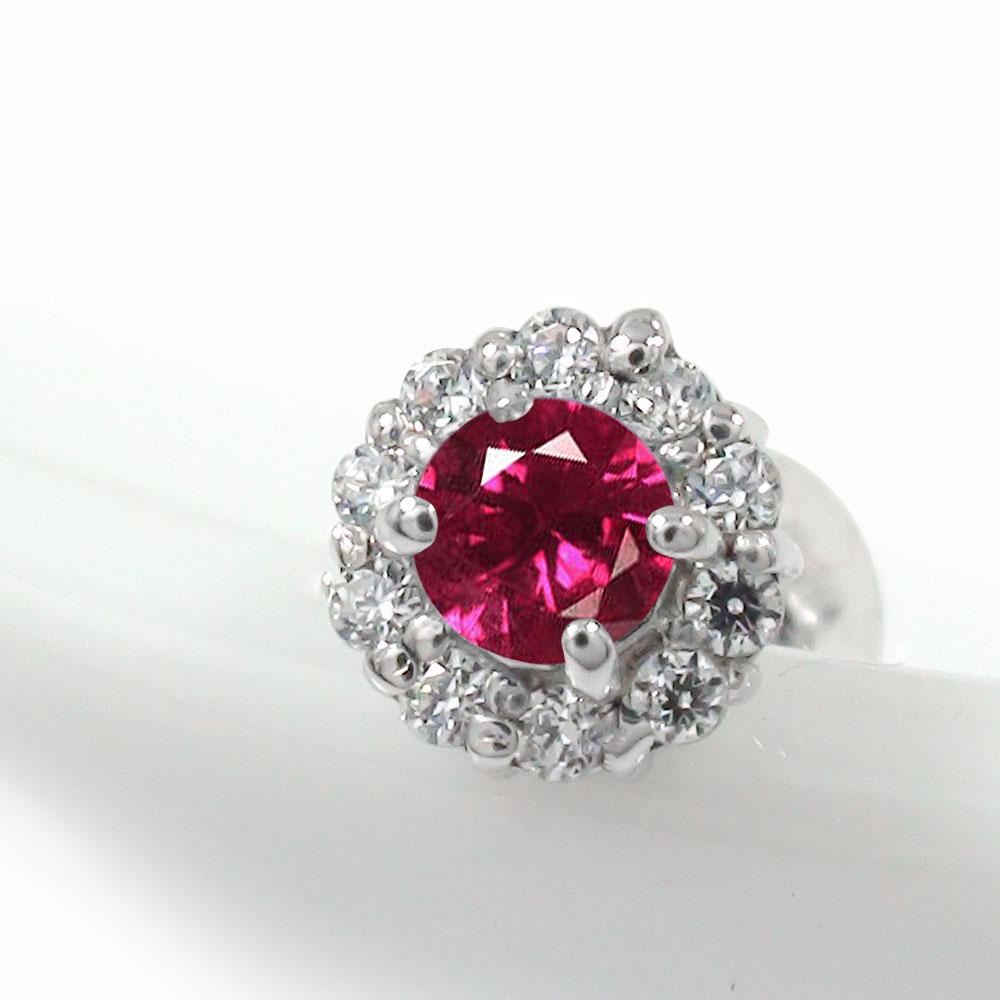 ルビー 取り巻き フラワーモチーフ 片耳ピアス ダイヤモンド 花 プラチナ 誕生石