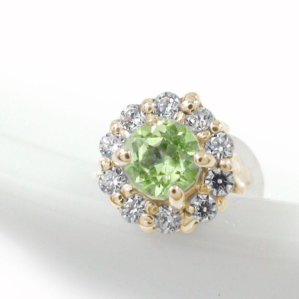 10金 ペリドット 誕生石 ダイヤモンド 取り巻き フラワーモチーフ 片耳ピアス 花