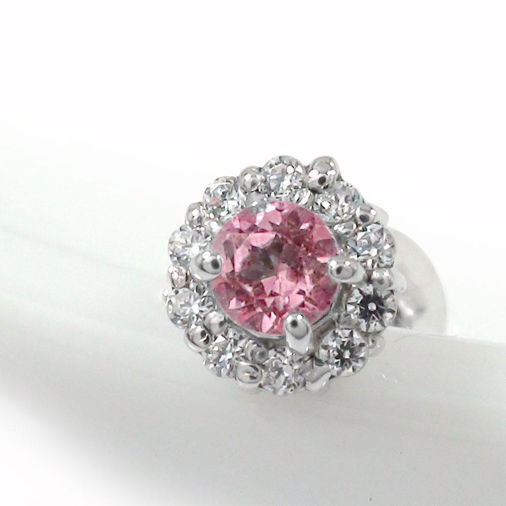 ピンクトルマリン 取り巻き フラワーモチーフ 片耳ピアス ダイヤモンド 花 プラチナ 誕生石