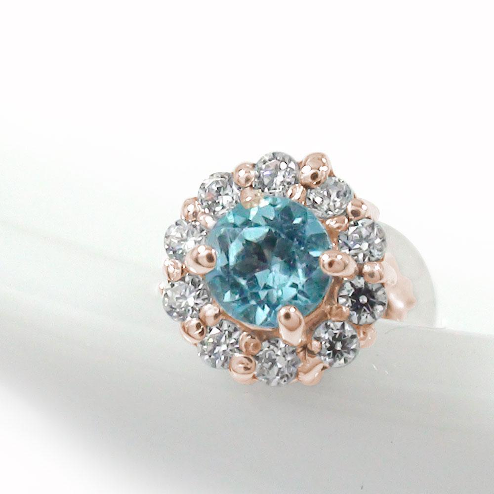取り巻き フラワーモチーフ 片耳ピアス 花 18金 ブルートパーズ ダイヤモンド 誕生石 キャッシュレス ポイント還元