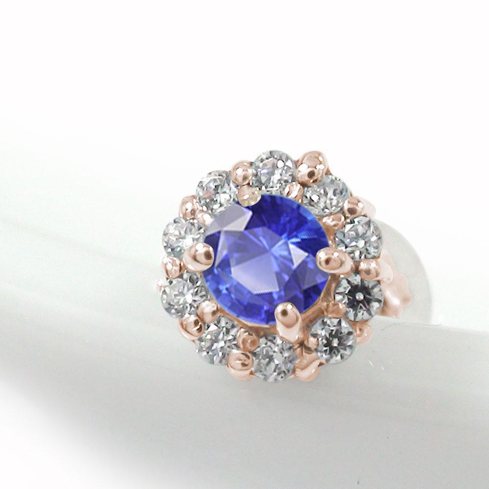 取り巻き フラワーモチーフ 片耳ピアス 花 18金 サファイア ダイヤモンド 誕生石
