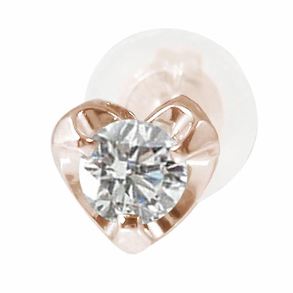 ハートモチーフ ダイヤモンド 片耳ピアス 18金 誕生石