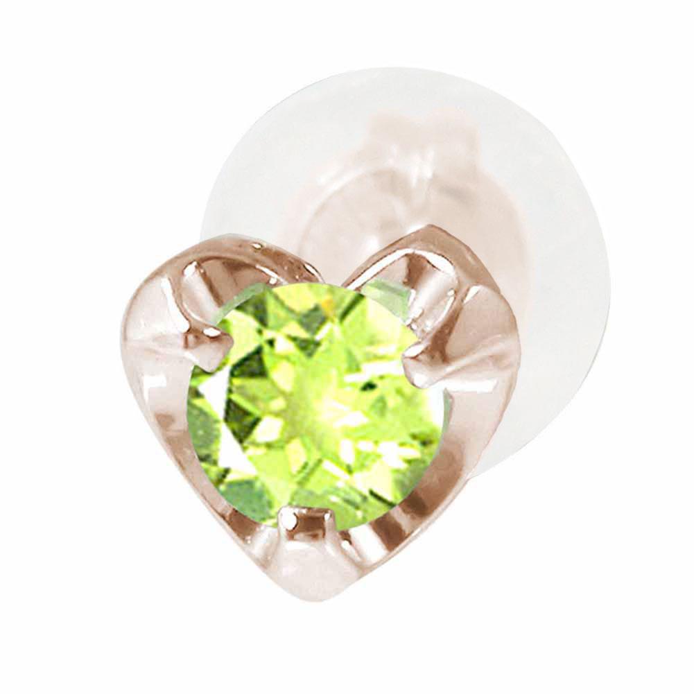 ハートモチーフ 片耳ピアス 18金 ペリドット 誕生石