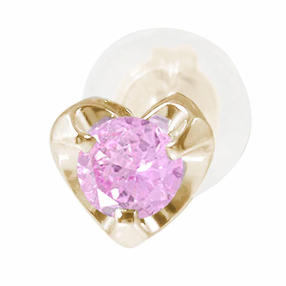 10金 ピンクサファイア ハートモチーフ 片耳ピアス 誕生石