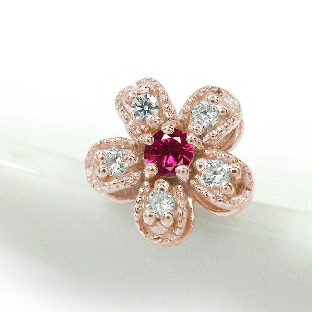 10/4 20時~ 片耳ピアス ダイヤモンド 18金 ルビー 誕生石 花 フラワーモチーフ 送料無料 買い回り 買いまわり