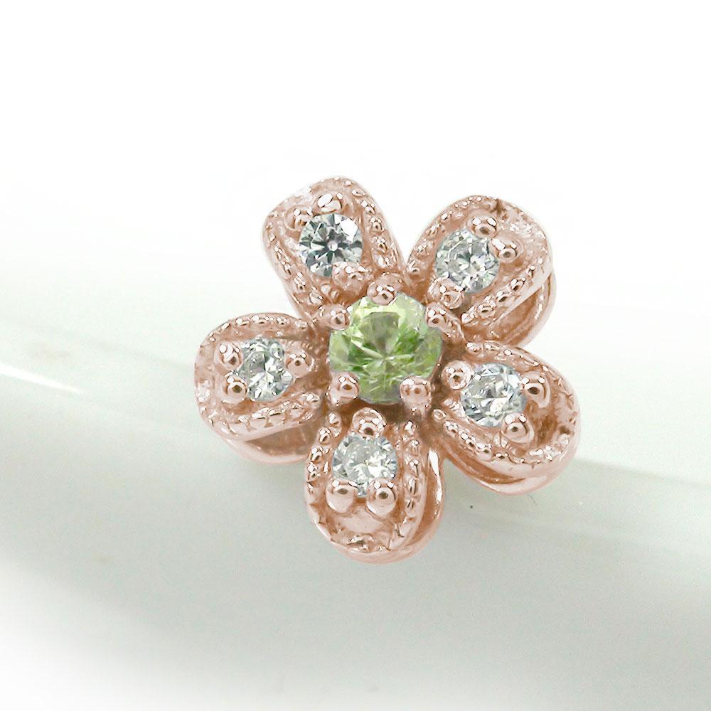 取り巻き フラワーモチーフ 花 片耳ピアス ダイヤモンド 18金 ペリドット 誕生石【送料無料】