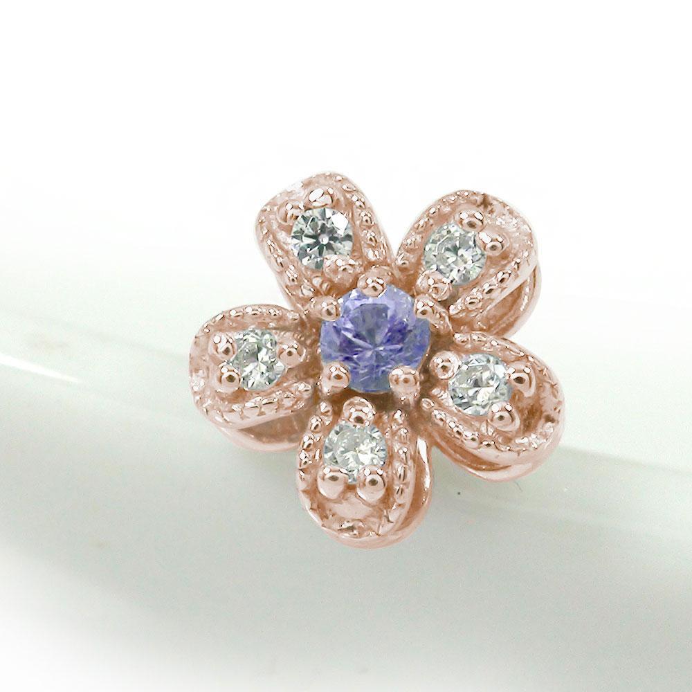 片耳ピアス ダイヤモンド 18金 タンザナイト 花 フラワーモチーフ 誕生石【送料無料】