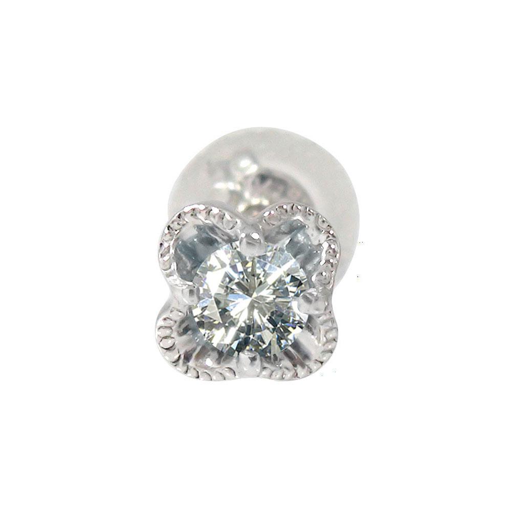 10/4 20時~ プラチナ 花 フラワーモチーフ ダイヤモンド 片耳ピアス 誕生石 買い回り 買いまわり