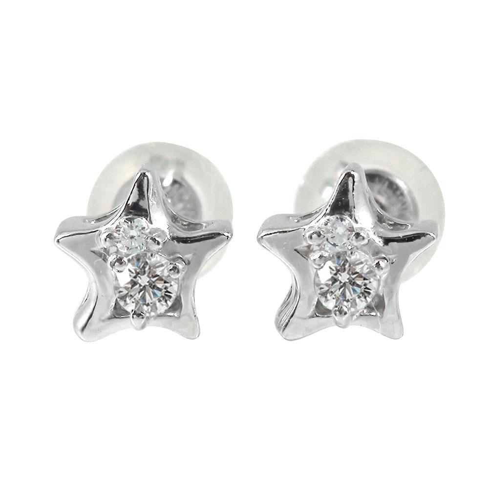 プラチナ 一番星 ダイヤモンド ピアス 誕生石