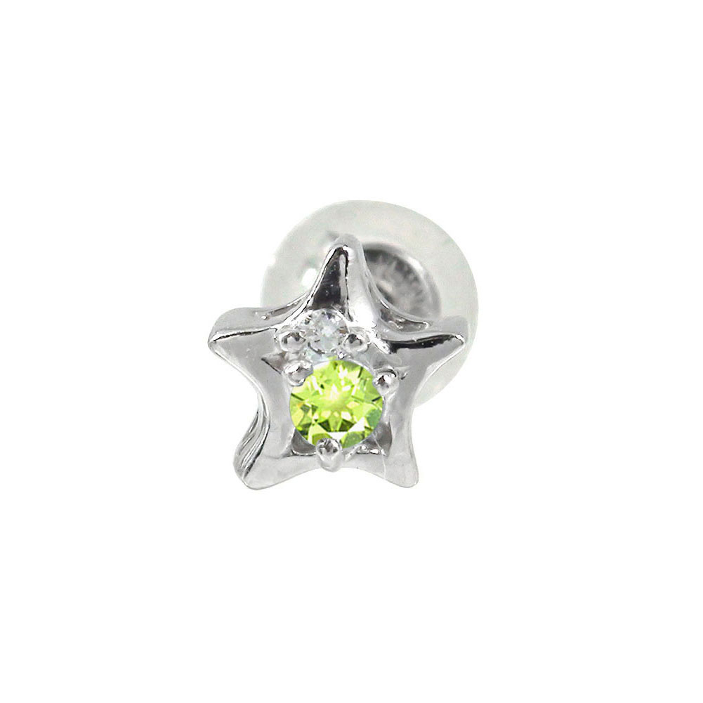 プラチナ ピアス ペリドット 一番星 片耳ピアス 誕生石