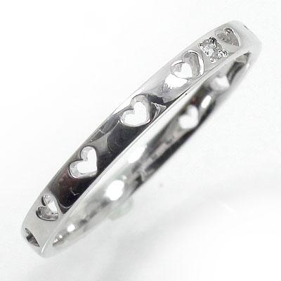 エタニティーリング プラチナ900 指輪 ハート ピンキーリング ダイヤモンド【送料無料】