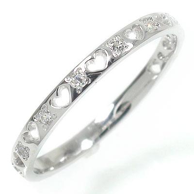 ダイヤモンド エタニティーリング 10金 指輪 ピンキーリング 0.10ct ハート ギフト 贈り物 母の日 プレゼント 誕生日 自分へのご褒美に【送料無料】