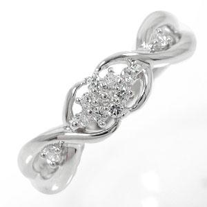 フラワーリング ダイヤモンド 10金 指輪 0.10ct ダイヤモンド ピンキーリング【送料無料】