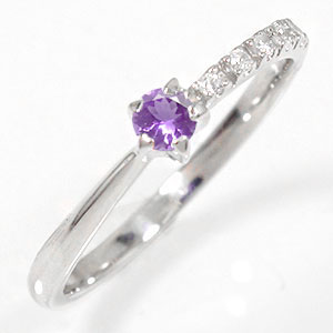 アメジストリング 18金 指輪 ピンキー 一粒 誕生石 流れ星 ギフト 贈り物 母の日 プレゼント 誕生日 自分へのご褒美に【送料無料】