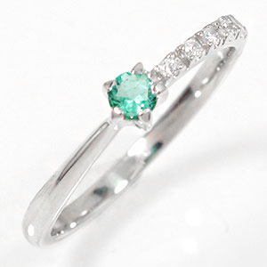 プラチナリング 流れ星 エメラルド 指輪 ピンキーリング ギフト 贈り物 母の日 プレゼント 自分へのご褒美に 大切な方に【送料無料】