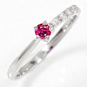 ピンキーリング ルビー 10金 指輪 一粒 流れ星 ダイヤモンド ギフト 記念日 母の日 プレゼント 誕生日プレゼント 大切な方に【送料無料】