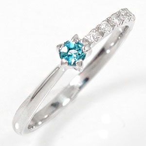 ブルートパーズリング 18金 指輪 ピンキー 一粒 誕生石 流れ星【送料無料】