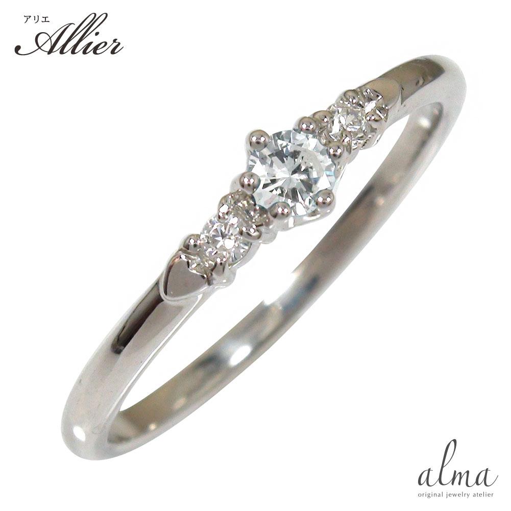 ダイヤモンド ハートリング 10金 指輪 誕生石 ピンキーリング ギフト 記念日 母の日 プレゼント 誕生日プレゼント 大切な方に【送料無料】