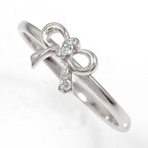 結婚指輪・婚約指輪 リボンリング ダイヤモンド 指輪 プラチナ 誕生石 ピンキーリング ギフト 記念日 母の日 プレゼント 誕生日プレゼント 大切な方に【送料無料】