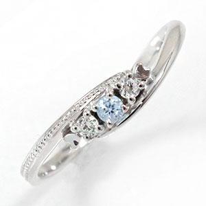結婚指輪・婚約指輪 スリーストーンリング ダイヤモンド 指輪 ピンキー 誕生石 10金 トリロジーリング【送料無料】