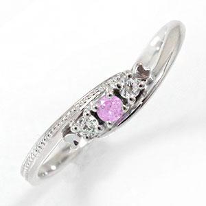 ピンクサファイアリング 誕生石 トリロジー プラチナ 指輪 ピンキーリング【送料無料】