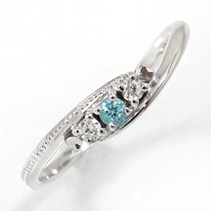 10/4 20時~ スリーストーンリング ブルートパーズ 指輪 ピンキー 誕生石 10金 トリロジーリング 送料無料 買い回り 買いまわり