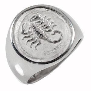 星座リング さそり座 (10/24~11/22) プラチナ 指輪 メンズ ユニセックス ピンキー 印台リング父の日【送料無料】