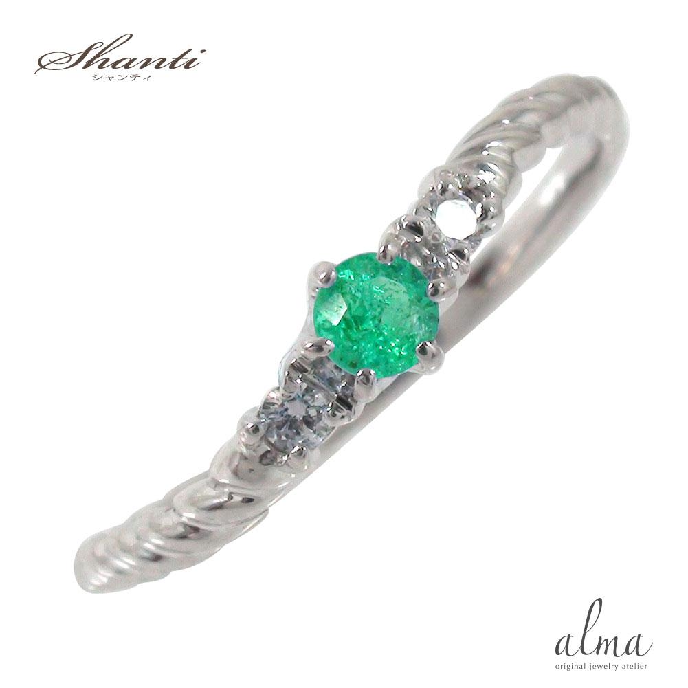 10/4 20時~ エメラルドリング 誕生石 10金 指輪 ピンキー 流れ星 スパイラルリング 送料無料 買い回り 買いまわり