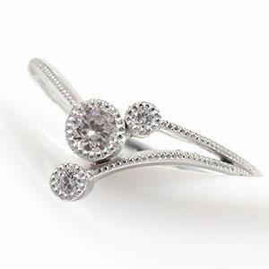 流れ星 ダイヤモンド リング 18金 指輪 ルメート ピンキー 送料無料