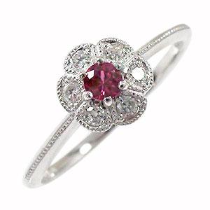 花 ルビー リング 18金 指輪 フラワーモチーフ ピンキー ダイヤモンド 送料無料