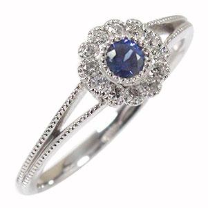 サファイア 花 リング ダイヤモンド フラワーモチーフ 18金 指輪 ピンキー 送料無料
