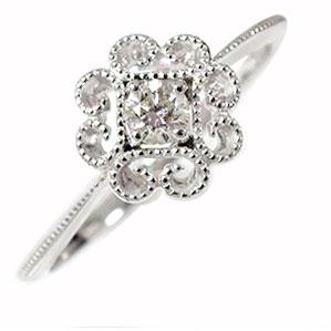 ダイヤモンド フラワーモチーフ 花 リング 18金 指輪 ピンキー 送料無料