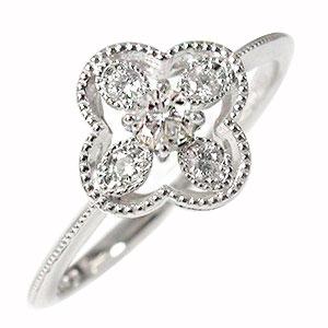 ダイヤモンド 花 リング プラチナ 指輪 フラワーモチーフ ピンキー 送料無料