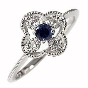 ピンキーリング 花 サファイア 18金 指輪 フラワーモチーフ ダイヤモンド 送料無料