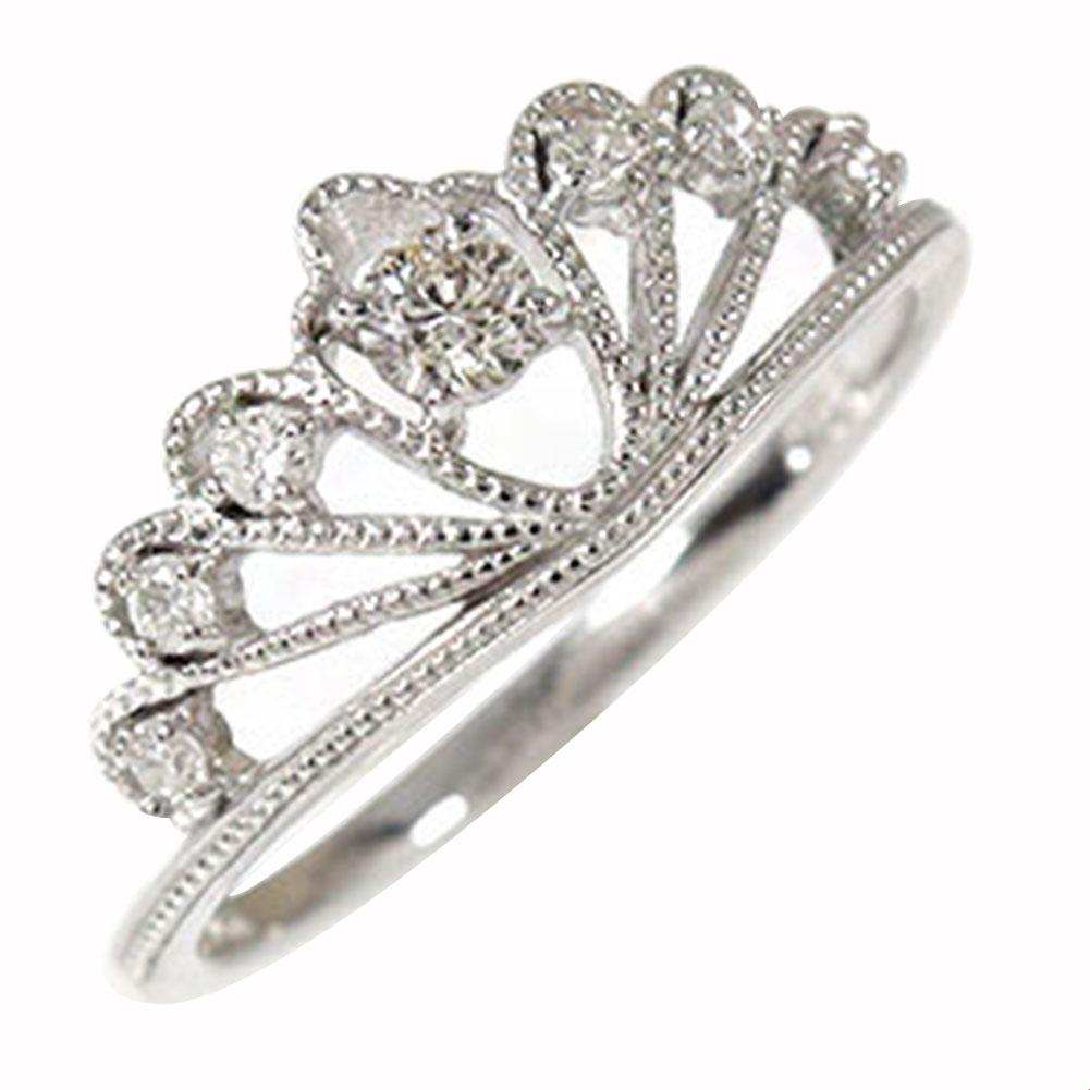 ティアラ ダイヤモンド ミルリング 18金 指輪 ピンキー 送料無料