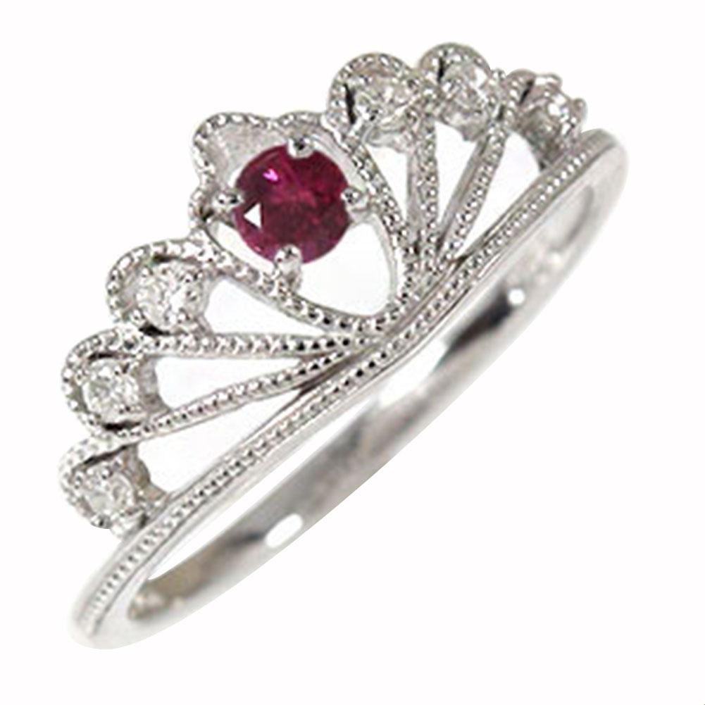 ルビー ティアラ リング 指輪 プラチナ ダイヤモンド ミル ピンキー 送料無料