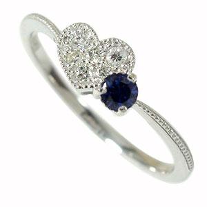 ハート 流れ星 サファイア ダイヤモンド リング 18金 指輪 ミル ルメート ピンキー 送料無料