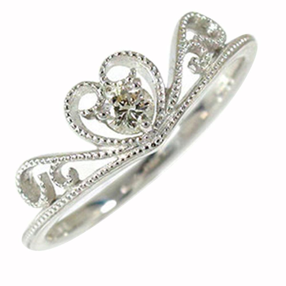 絶妙なデザイン ハート ティアラ ダイヤモンド リング ピンキー 18金 指輪 ミル 送料無料, 多様な 6a9c1b70